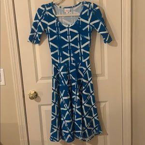LuLaRoe Amelia dress, Blue and white